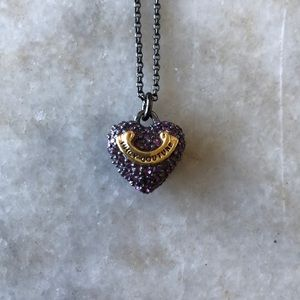 Juicy couture purple Pave heart wish necklace